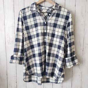 J Crew plaid, flannel button shirt, blue medium